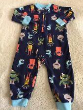 Carters Boys Blue Orange Gray Monsters Fleece Long Sleeve Pajamas 12 Months