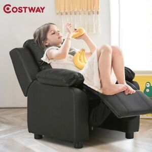 Kids Deluxe Headrest Recliner Sofa Chair with Storage Arms Duty Wooden Frame