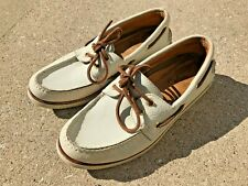 Men's Sperry Gold Cup A/O Top Sider Boat Shoes, Ivory/Ivory, Style 0532523