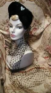Vintage Femme Fatale 1940s Black Felt Halo Hat w Trailing Veils Jewel FISK