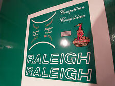Raleigh Competition decal set. 7 decals in total. 1980's type.Original artwork.