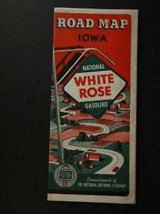1940 WHITE ROSE GASOLINE TRAVEL MAP of IOWA (OLD NEW STOCK)~
