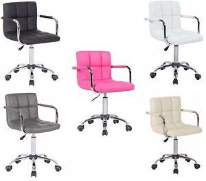 Stylish PU Faux Leather Computer Office Desk Swivel Chair Wheels Salon Barber