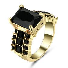 Ring 18KT Yellow Gold Filled Princess Cut Black Sapphire Flower Women/men Size 6