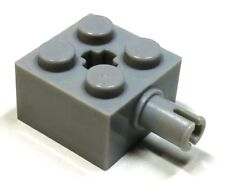 Lego Technic 2x2 Brick modified with axle hole and Pin. Lt Grey 6232 (pack of 2)