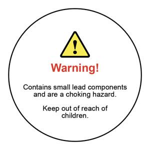 Lead components choking hazard warning labels