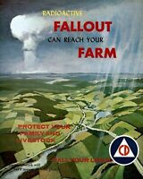 Vintage Nuclear Bomb Civil Defense PHOTO Poster Radioactive Atomic Fallout Farm