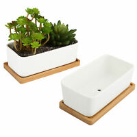 White Ceramic Rectangular Succulent Planters with Bamboo Saucers, Set of 2