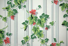 Old 1940's Vintage Wallpaper Gray and White stripe with green ivy bouquets