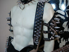 LEATHER SPIKED GUITAR STRAP. BUCKLE UP! ...(MDLS0289)...SATYR...