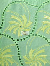 JASMINE FLORAL AFRICAN LACE SWISS VOILE FABRIC GreenYellow SOLD PER 5 YARD PIECE