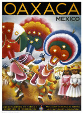 VINTAGE MEXICAN ART PRINT - Oaxaca, MEXICO 24x18 Travel Tourist Poster