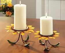 Sunflower Pedestal Candle Holder Set Fall Harvest Colorful Country Dinning Decor