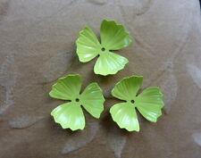 8   vintage metal enamel flower bead, poppy green, 32mm