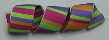 RIBBON with BRIGHT STRIPES, 1 Mtr, Gifts/Cards/Bows/Party/Christmas/Grosgrain