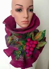 Woman's Felted Wool Scarves Scarf Brooch grapes Hand Made Art