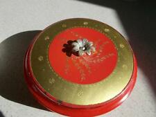 Almost Full Avon vintage Talc dusting POWDER Red Glass container Mary King PUFF
