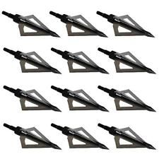12x 100Grain Hunting Broadheads Black Arrow Heads Point Tips Carbon Fiber Arrow