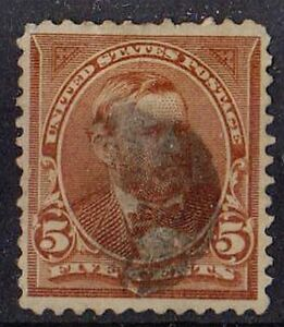 US 1894 Scott # 255 Ulysses S. Grant 18th President 5 Cents Chocolate STAMP