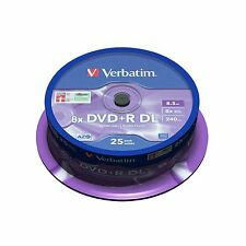 VERBATIM DVD+R 8,5 GB 8x Speed 240MIN Printable DUAL LAYER SPINDLE PACK 25 43667