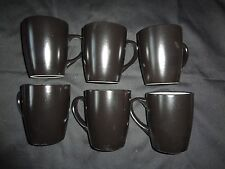 Set of 6 Chunky Liquorice Black with White Interior, 13oz Stoneware Mugs