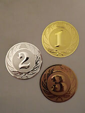 3er Set Pokal Emblem Siegerzahl Zahl Embleme  50mm Pokale Gold Silber Bronze