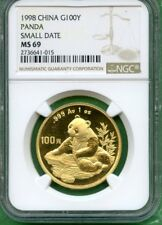 PANDA GOLD CHINA 1998 NGC  MS 69     100 YUAN  1 OZ   SMALL  DATE