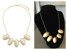 JewelMint Briar Beauty Necklace Cream White Ivory 10k Gold Oval Chain Statement