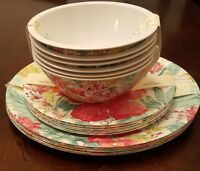New! 18PC Set Outdoor Plates - Watercolor Hibiscus Flowers - Picnic & BBQ!