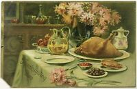 Raphael Tuck & Sons Thanksgiving Day Series 123 Embossed Table Feast Postcard