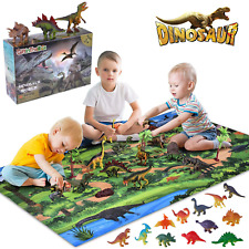 Giftinthebox Dinosaur Toys, Large 31.5 x 47.3 Inch Play Mat with 21 Realistic Lo