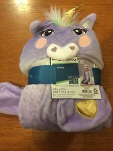 UNICORN HOODED THROW BLANKET Your Zone Kids Purple 40X50 Inches NEW NWT