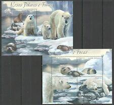 BC526 2012 GUINEA-BISSAU FAUNA WILD ANIMALS POLAR BEARS & SEALS BL+KB MNH
