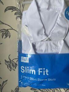 Brand New School shirt white 15-16 Years slim Fit. (f&f) x2 pack
