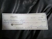 Golfer Sam Samuel Snead Autographed Hand Signed Cancelled Check 9b