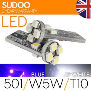 501 W5W T10 CAR BULBS BLUE WHITE CAR XENON SIDE LIGHT HID SMD CANBUS ERROR FREE