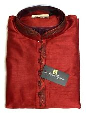 SKAVIJ Men's Tunic Cotton Kurta Pajama Casual Indian Apparel Red Size Large/42