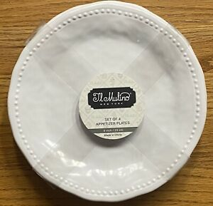 Il Mulino White Hobnail Edge Side Plates MELAMINE Set 4