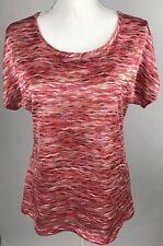 Dressbarn Womens Shirt Multi Colored Short Sleeve Net Back Medium Pink