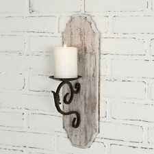 Candle Sconce  White Distressed Wood Farmhouse Wall Decor