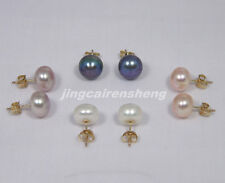 4 PAIRS OF COLORFUL 9MM FW PEARL EARRINGS 14K GOLD STUD