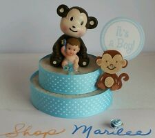MONKEY BABY BOY BABY SHOWER CAKE TOPPER DECORATION