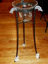 New in Box Longaberger Lg. Wrought Iron Hurricane Stand w/ Glass Bell Hanger Set