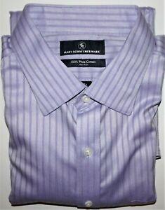 Hart Schaffner Marx Dress Shirt 17.5 - 34 Purple Multi Striped Pima Cotton NWT