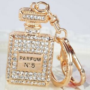 Gold Crystal Perfume Bottle Keyring
