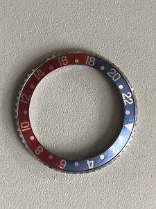 FOR ROLEX-FADED VINTAGE GMT-MASTER 1675 STYLE - PEPSI BLUE-RED BEZEL INSERT RARE