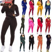 2Pcs Women's Solid Sports Gym Yoga Tracksuit Long Sleeve Zip Up Hoodie Pants Set