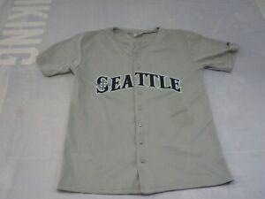 Seattle Mariners Youth Baseball Jersey XL Gray Blue Ichiro #51 Button Down