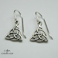 925 Sterling Silver Earrings Studs Celtic Heart Knot OX Finish New inc Gift Bag