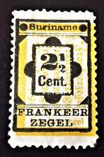 Suriname. 1892  2 1/2 cent Black and Yellow, (no gum).